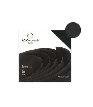 "AC Cardstock Scrapbook Cardstock: 12""x12"" 80lb (216gsm) Textured 60Sht B) Black Solid"