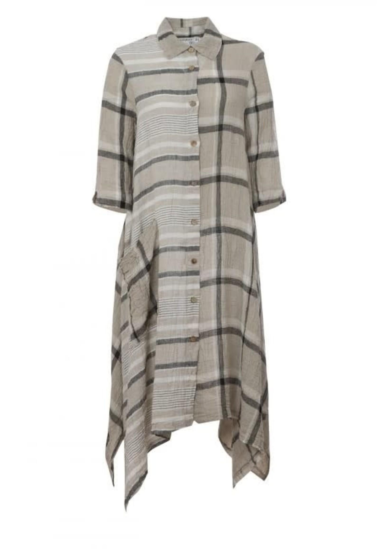 LUUKAA 20y528 striped checkerd dress
