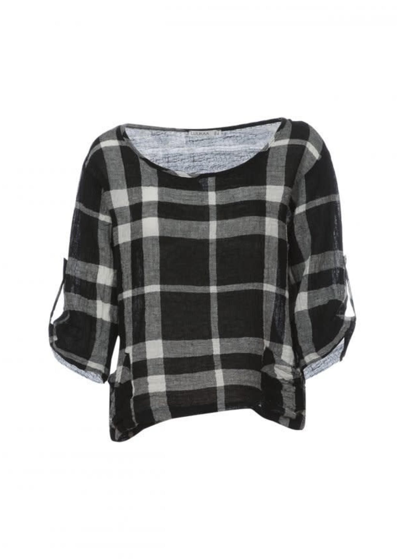 LUUKAA 20y142 checkerd  woven linen blouse