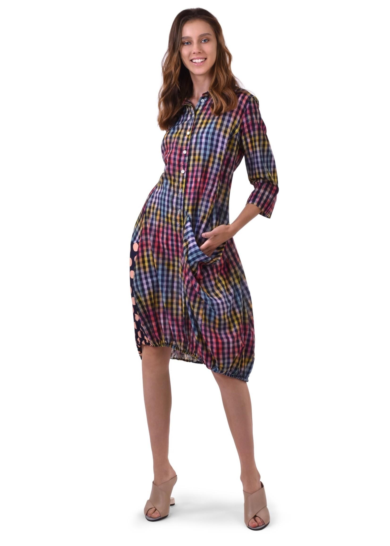 ALEMBIKA sd622-pixel Gingham Print Wonderful Dress