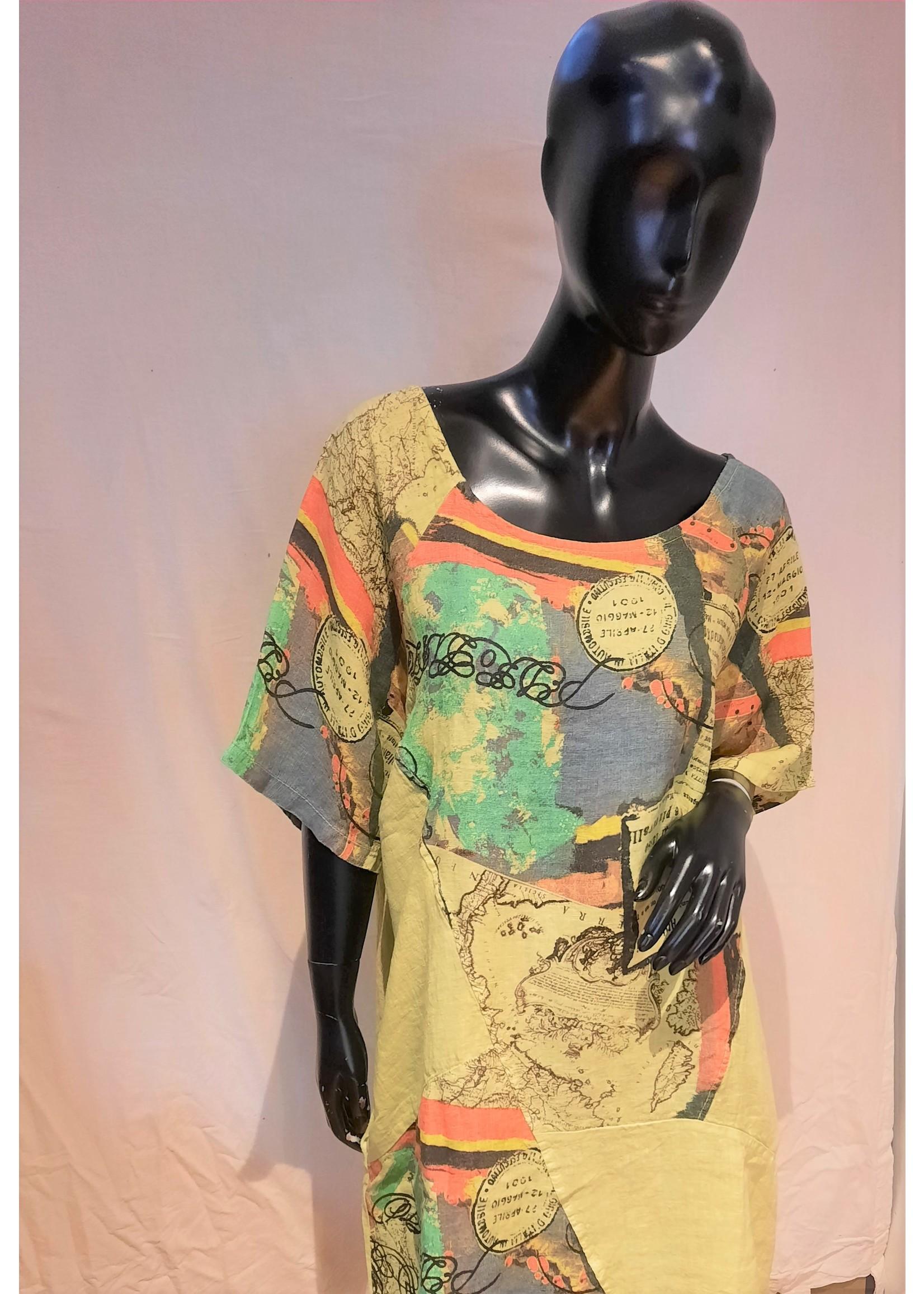 SYBIL 90994  print linen dress