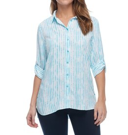 FDJ Hazy Stripe Tab Sleeve Blouse
