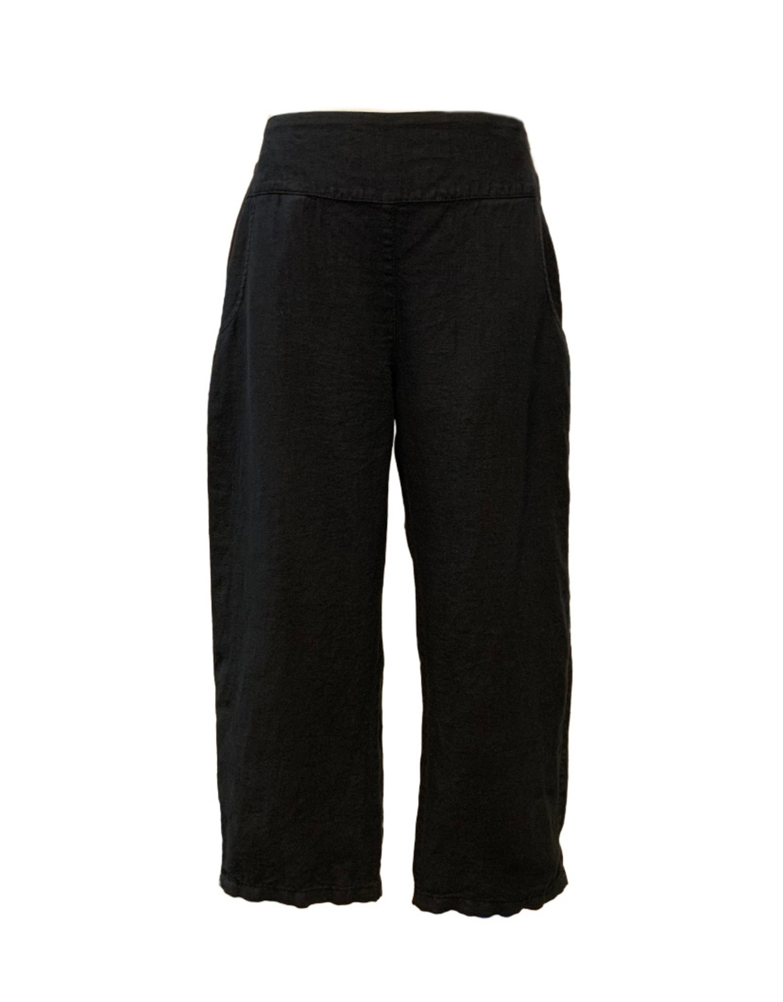 Color Me Cotton CMC Linen Black Crop Pant