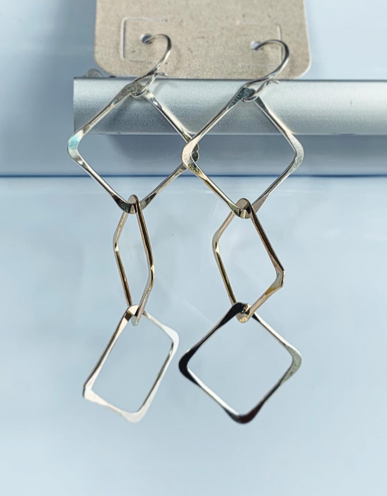 3 Squares Link Earrings