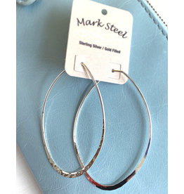 Hammered Oval Hoop Earrings 50mm