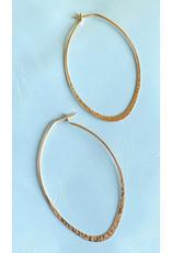 Hammered Oval Hoop Earrings 50mm