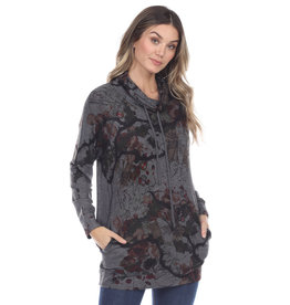 Inoah Long Sleeve Cowl Neck Tunic Side Pockets