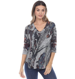 Inoah V Neck A Line Grey Melange Top