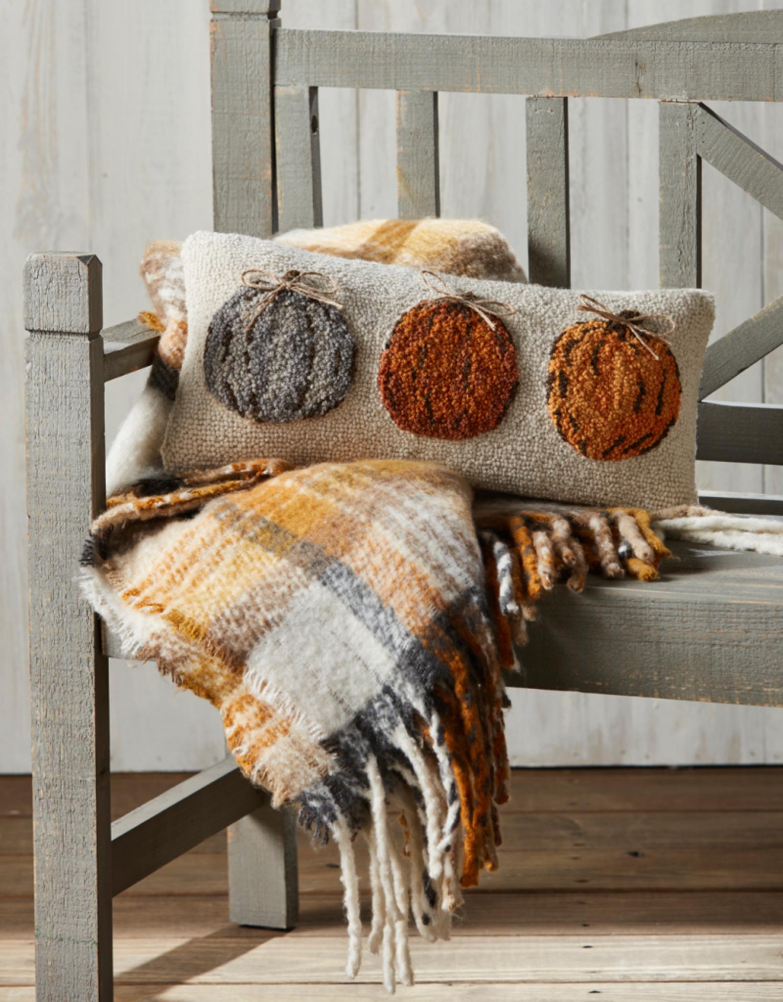 Mud Pie Pumpkin Trio Hook Wool Pillow