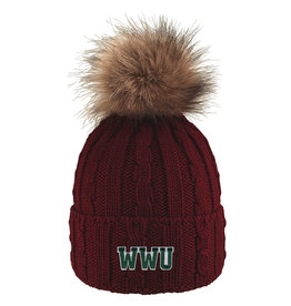 Alps Knit Cuff Hat w/Faux Fur Pom