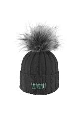 Alps Knit Cuff Hat w/Faux Fur Pom
