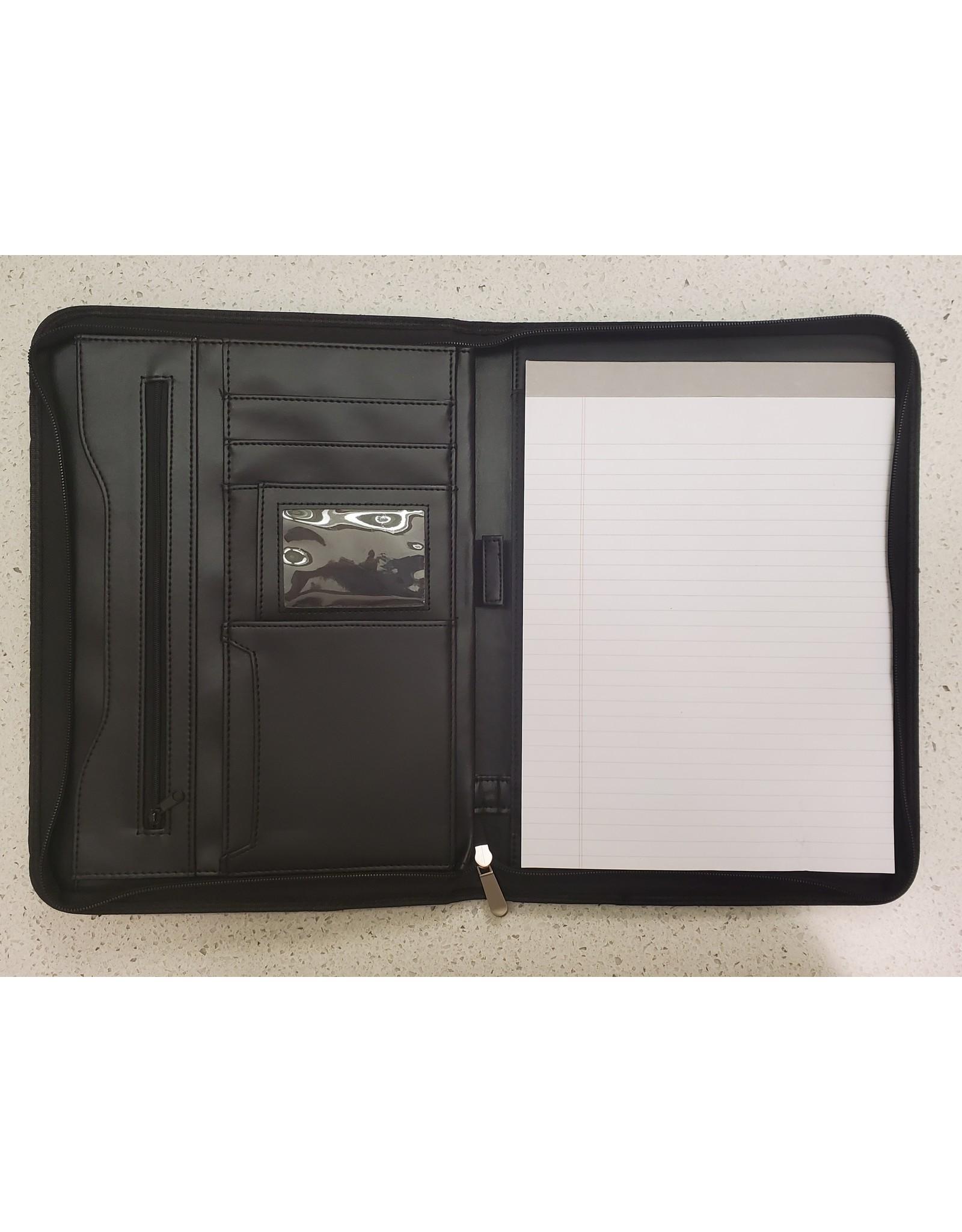 Zippered Black Padfolder 10.25x13.5