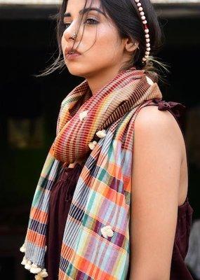plaid heddle scarf
