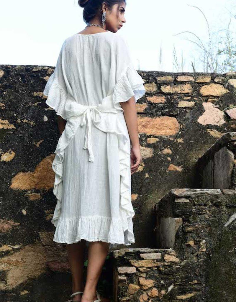 boho ruffle dress