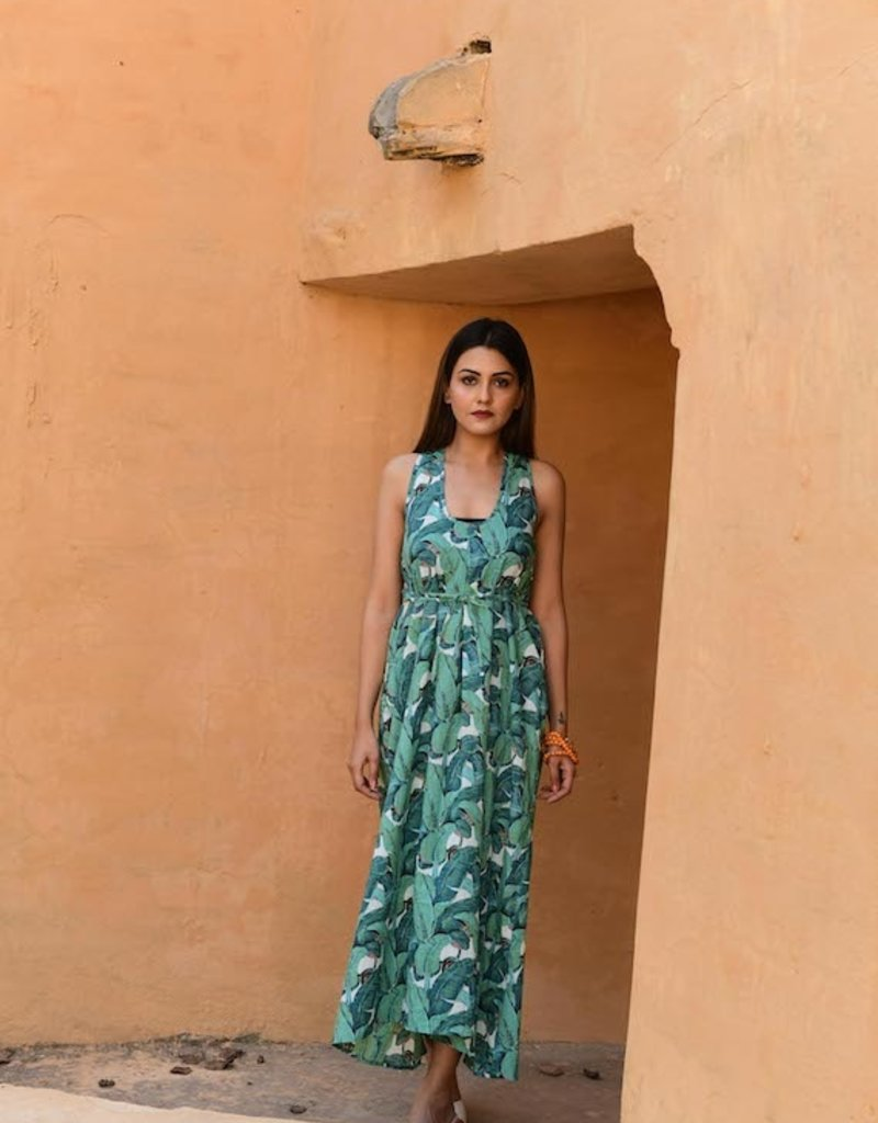 banana leaf sunset dress