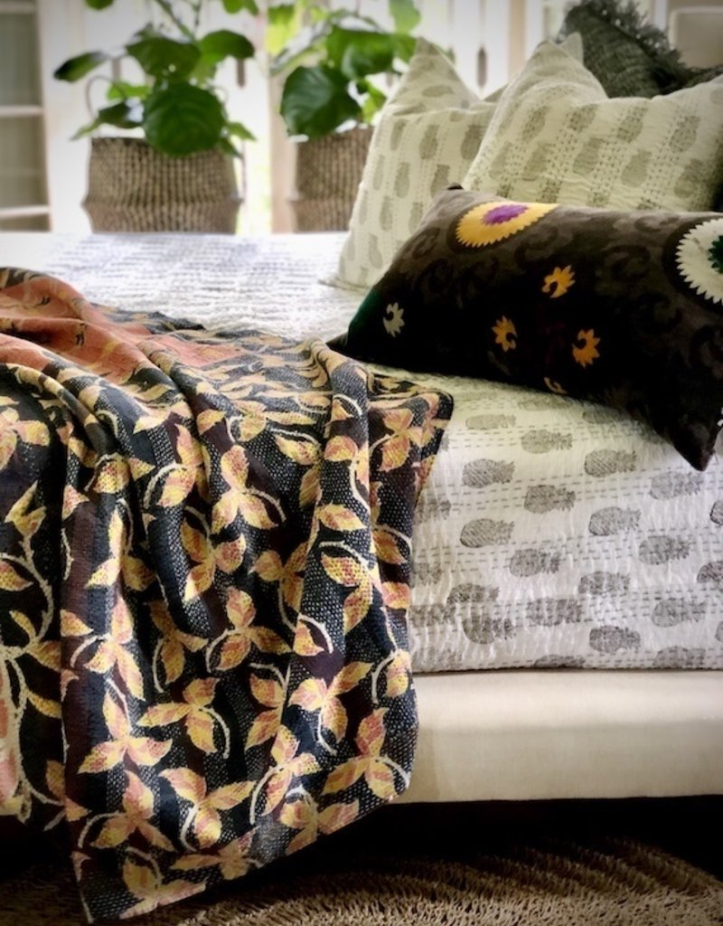 pineapple kantha bedspread