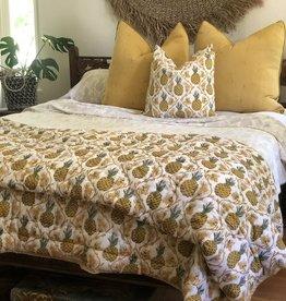 pineapple block print sham set