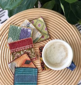 vintage kantha coaster set of 4