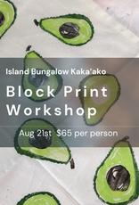 block print workshop Aug 21st