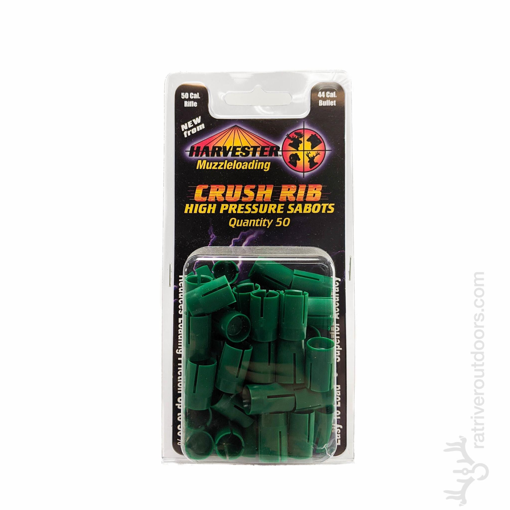 Harvester .50 to .45 Crush Rib High Pressure Sabots / Green (50pk)