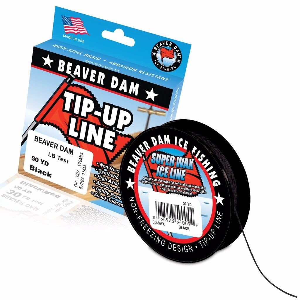 Beaver Dam Fishing Tip-Up Line, 20lb, 50yd, Black