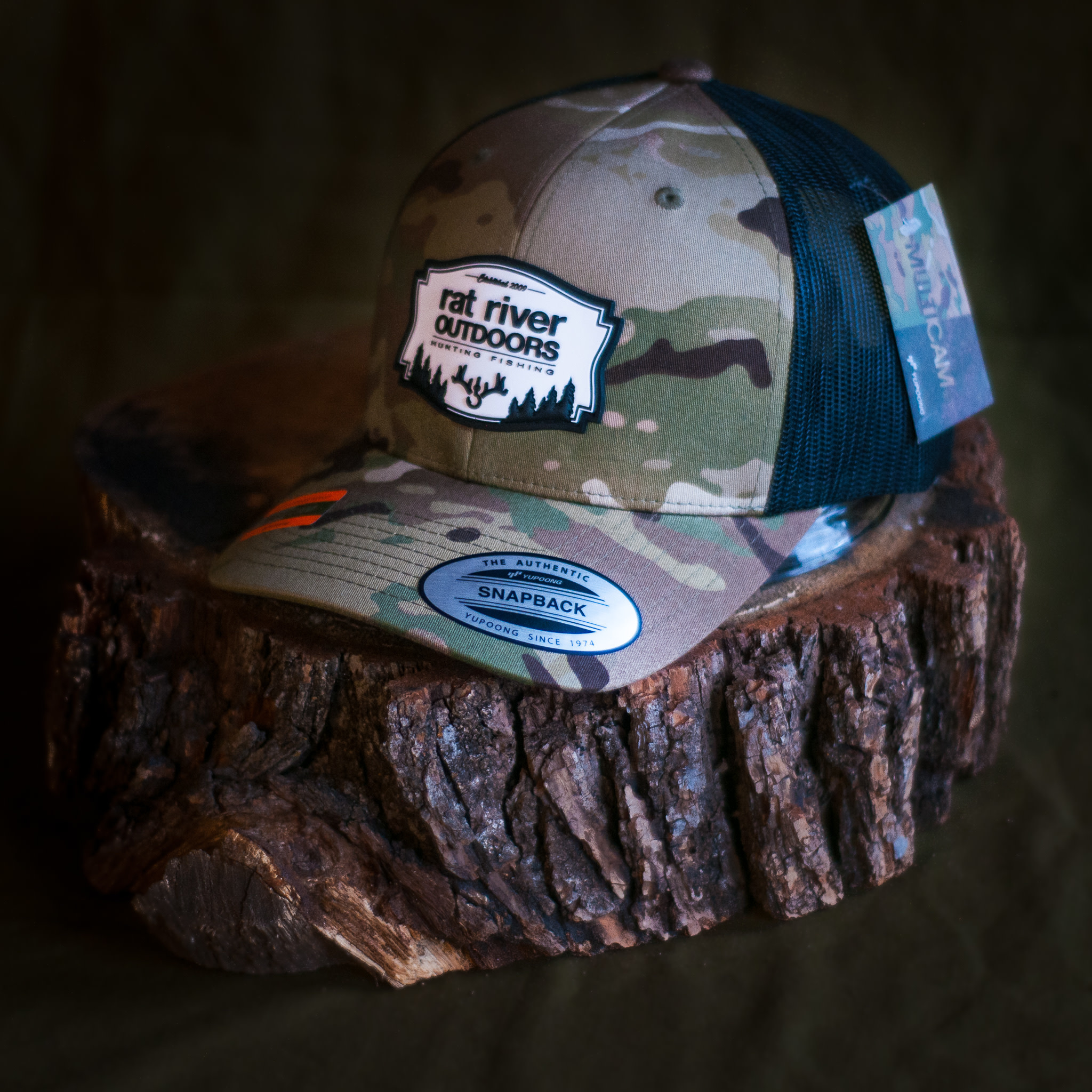 Yupoong RRO Patched Logo Multi Cam Snap Back Hat