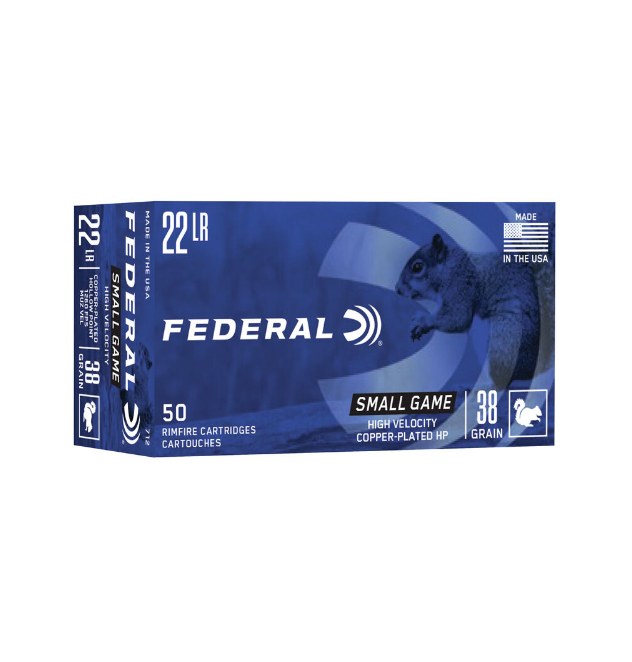 Federal 712 Game-Shok Rimfire Rifle Ammo 22 LR, Copper Plated HP, 38 Gr, 1260 fps, (50pk)