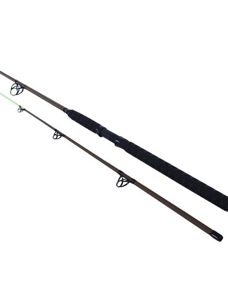 Berkley BSMUD802MH Mud Cat Fiberglass Spinning Rod 8', 2pc, MH 1-4 oz 6 SS Guides Rubber Shrink Wrap Handle