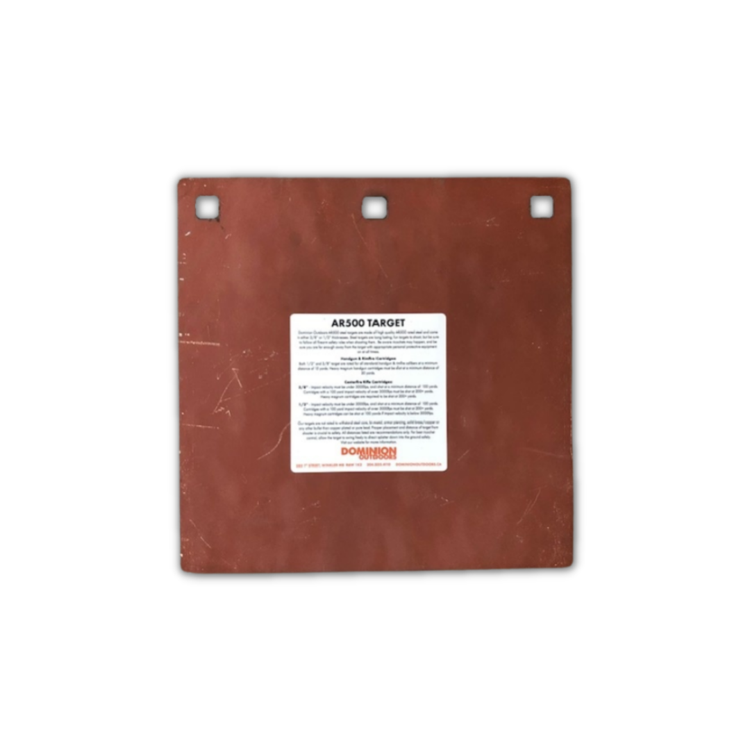 """AR500 Gong 8"""" Square 3/8"""" Thick"""