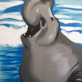 Unfinished Aquadic-Bliss, 7' x 6', XL Painting, One Of A Kind, Hand Made