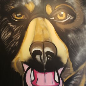 Unfinished Bear-Eyes, 7' x 6', XL Painting, One Of A Kind, Hand Made