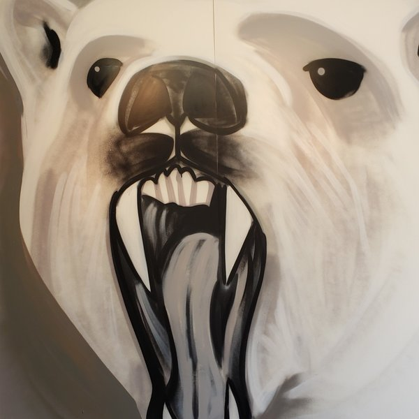 Unfinished Bear-White, 7' x 6', XL Painting, One Of A Kind, Hand Made