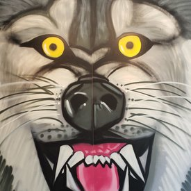 Unfinished Bright-Fang, 7' x 6', L Painting, One Of A Kind, Hand Made