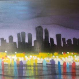 Unfinished City-Scape, 6' x 4', L Painting, One Of A Kind, Hand Made