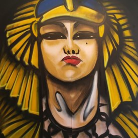 Unfinished Cleo, 7' x 6', XL Painting, One Of A Kind, Hand Made