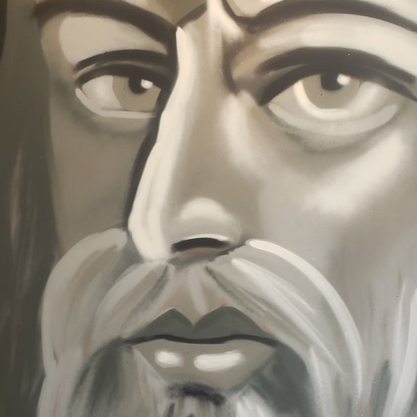Unfinished Da-Vinci, 6' x 4', L Painting, One Of A Kind, Hand Made