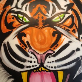 Unfinished Emerald-Stripes, 7' x 6', XL Painting, One Of A Kind, Hand Made