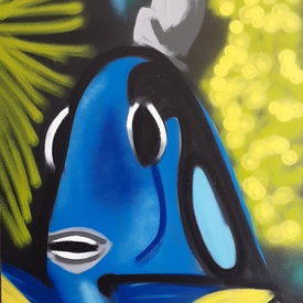 Unfinished Fishquadic, 6' x 4', L Painting, One Of A Kind, Hand Made