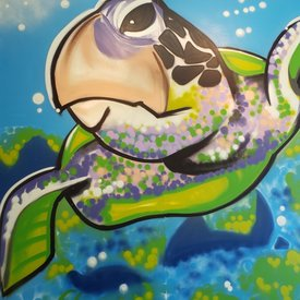 Unfinished Free-Dive, 7' x 6', XL Painting, One Of A Kind, Hand Made