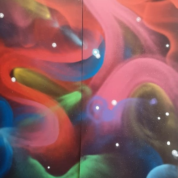 Unfinished Galactic-Lights, 7' x 6', XL Painting, One Of A Kind, Hand Made