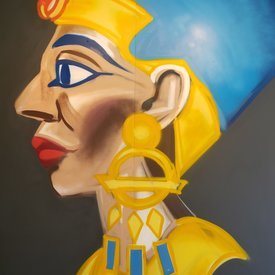 Unfinished Nefertiti, 7' x 6', XL Painting, One Of A Kind, Hand Made