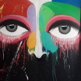 Unfinished Night-Gazer, 7' x 6', XL Painting, One Of A Kind, Hand Made