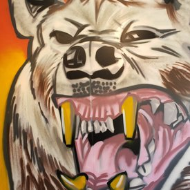 Unfinished Road-Rage, 7' x 6', XL Painting, One Of A Kind, Hand Made