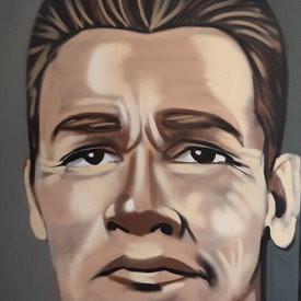 Unfinished Schwarzenegger, 6' x 4', L Painting, One Of A Kind, Hand Made