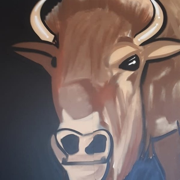 Unfinished Short-Horns, 7' x 6', XL Painting, One Of A Kind, Hand Made