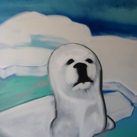 Unfinished Snow-Eyes, 6' x 4', L Painting, One Of A Kind, Hand Made
