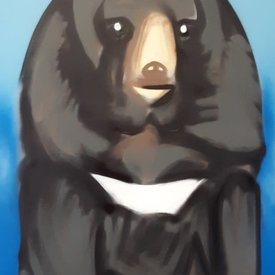 Unfinished Somber-Bear, 6' x 4', L Painting, One Of A Kind, Hand Made
