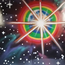 Unfinished Star-Bright, 7' x 6', XL Painting, One Of A Kind, Hand Made