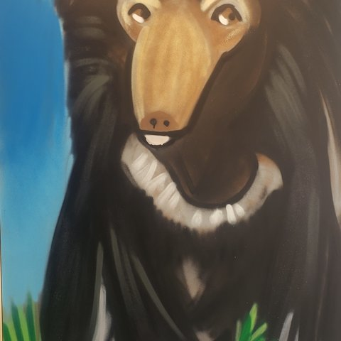 Sullen-Bear, 6' x 4', L Painting, One Of A Kind, Hand Made