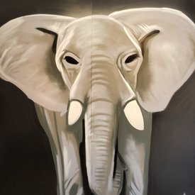 Unfinished Sweet-Eyes, 7' x 6', XL Painting, One Of A Kind, Hand Made